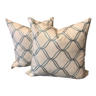 Contemporary Blue and White Pillows - a Pair For Sale