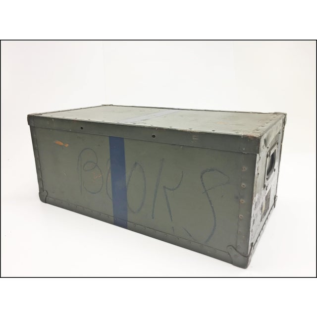 Vintage Industrial Drab Green Military Chest W Removable Lid For Sale - Image 6 of 12