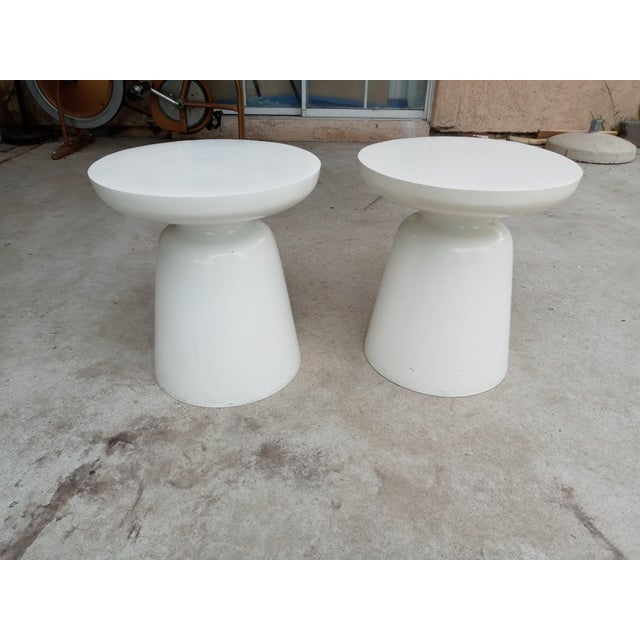 Metal Mid Century Off White Aluminum Stools - a Pair For Sale - Image 7 of 7