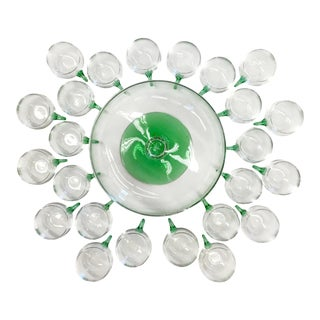 Mid Century Modern Hand Blown Glass Punch Set - 25 Pieces For Sale