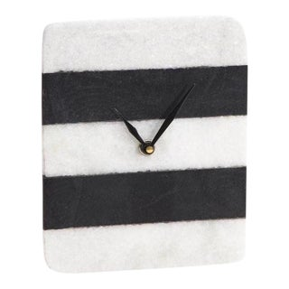 Hollywood Regency Black and White Color Blocked Marble Clock