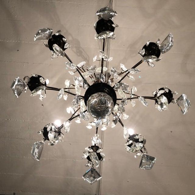 1930s Vintage Lead Crystal 8 Light Chandelier For Sale - Image 4 of 12