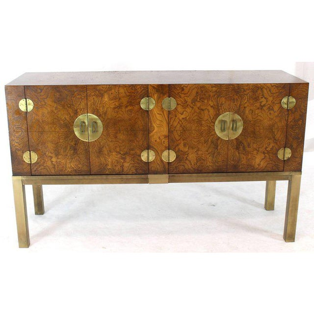 Burl Wood and Solid Brass Hardware Compact Double Doors Credenza For Sale - Image 9 of 11