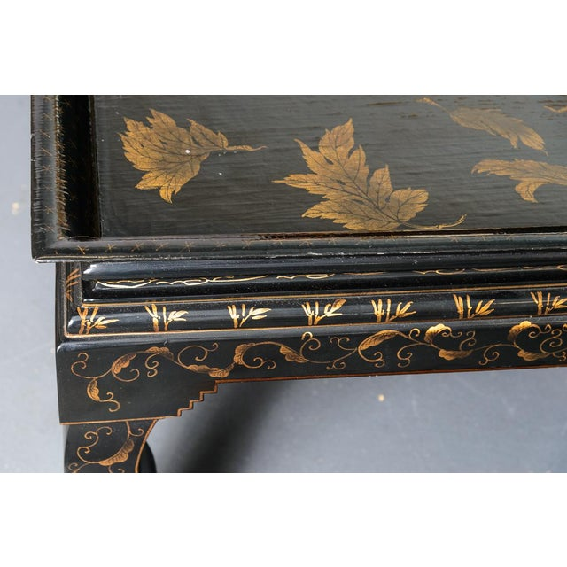 Asian Black Lacquer Wood Cocktail Table With Hand Painted Gold Florals For Sale - Image 9 of 13