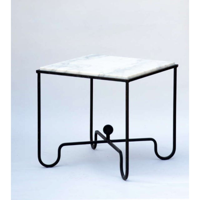 """Modern Contemporary """"Entretoise"""" Wrought Iron and Marble Tables - a Pair For Sale - Image 3 of 7"""