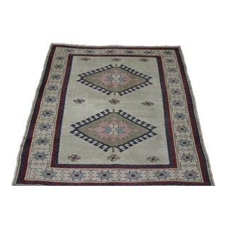 """Traditional Turkish Wool Rug - 4' x 5'6"""" For Sale"""