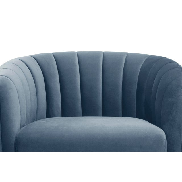 Contemporary Channeled Side Chair in Dust Blue For Sale - Image 3 of 6