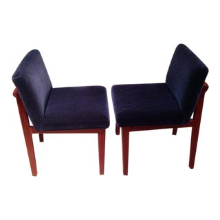 Pair of Padauk Chairs Re-Done in Wool Mohair For Sale