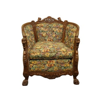 Vintage English Inspired Gothic Revival Jacobean Ornately Carved Accent Arm Chair For Sale