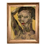 Image of Abstract Oil Portrait Painting For Sale