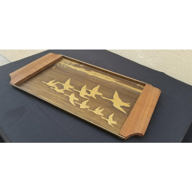 Brass Vintage Mid-Century Brass Etched Tray With Flying Ducks and Walnut Wood Handles For Sale - Image 7 of 9
