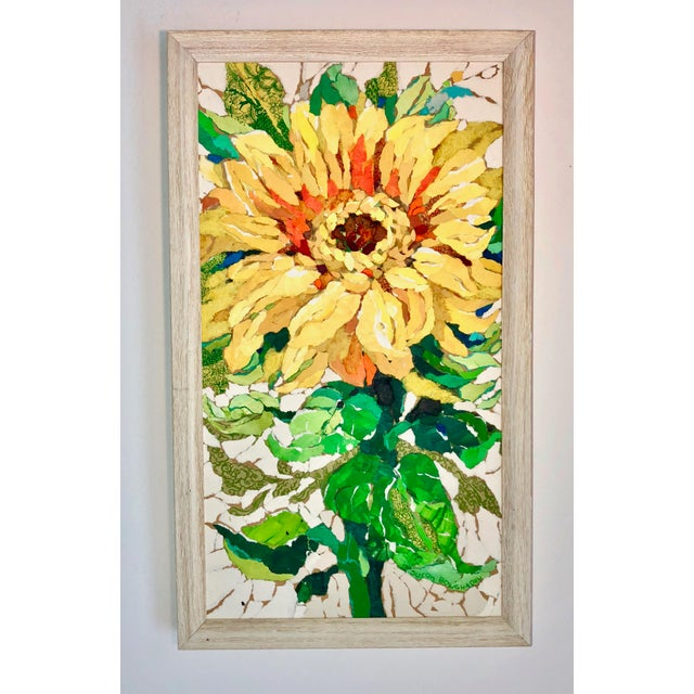 Acrylic Sunflower II Contemporary Collage Painting For Sale - Image 7 of 7
