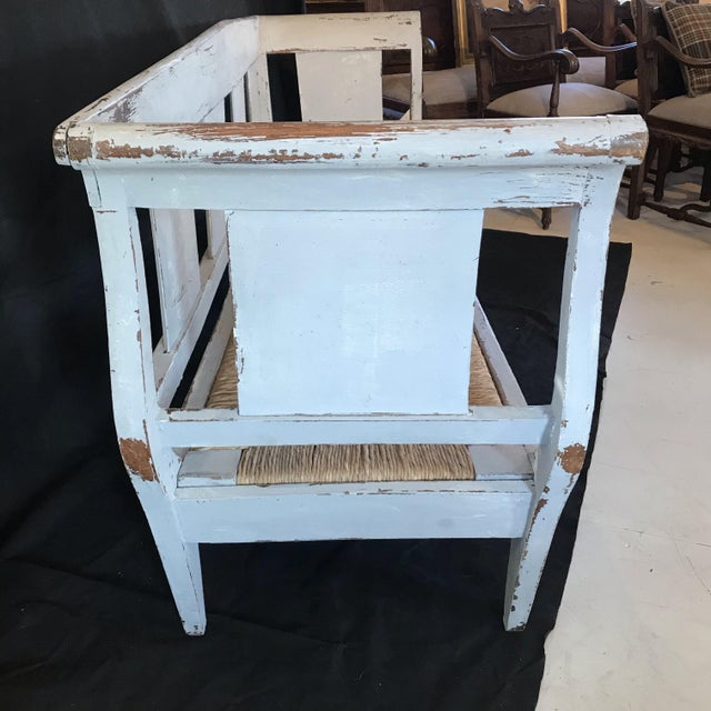Gustavian Grey Painted Rustic Bench With Original Rush Seat For Sale - Image 4 of 13