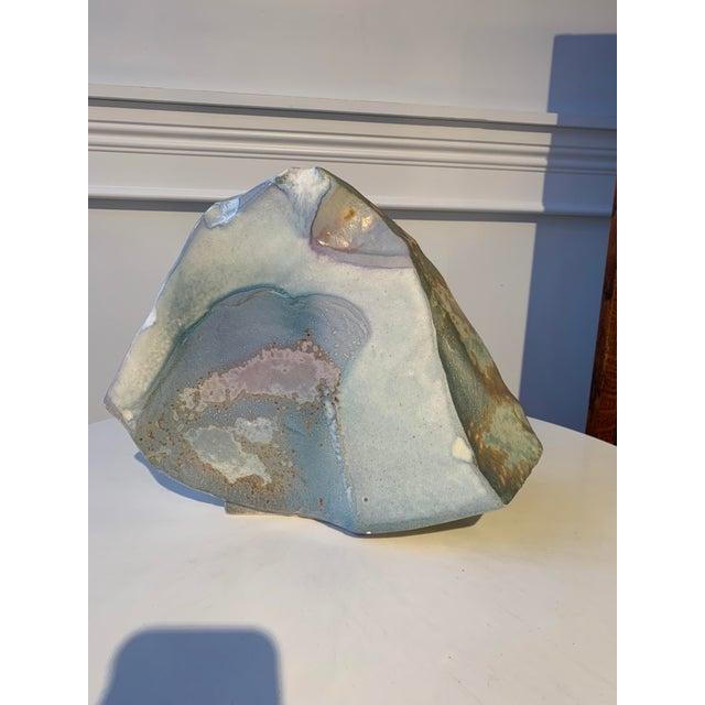Brutalist Signed Tony Evans Raku Sculptural Vase For Sale - Image 3 of 7
