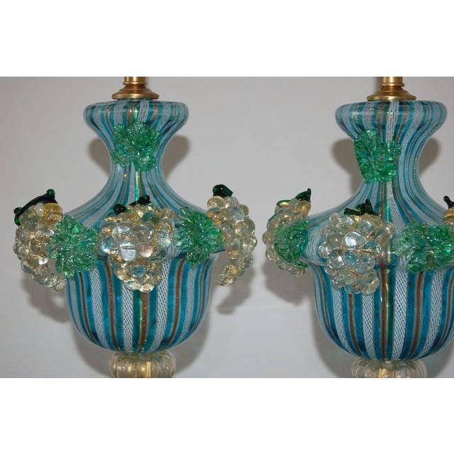 1960s Dino Martens Vintage Murano Glass Table Lamps Turquoise For Sale - Image 5 of 10