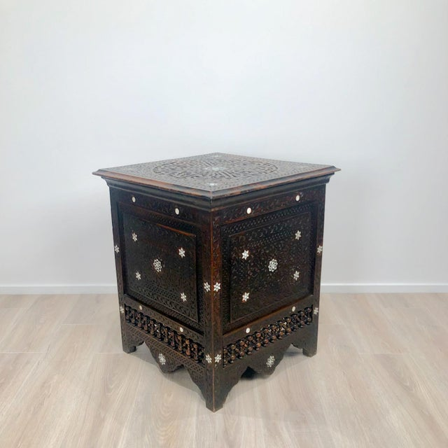 Islamic Inlaid Square Table, Morocco Circa 1880 For Sale - Image 3 of 5