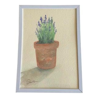 """Nancy Smith Original Framed Watercolor Botanical, """"Lavender Blue"""" For Sale"""