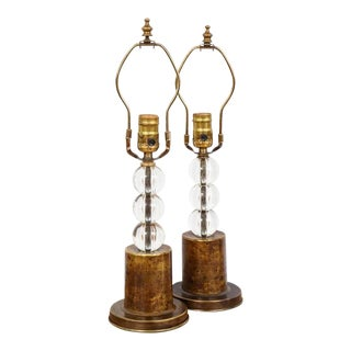 Pair of Boudoir Lamps With Crystal Orbs on Brass Base For Sale