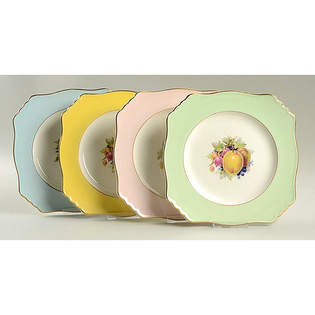 Royal Winton Square Salad Plate Mixed Fruit Motif - Set of 4 For Sale - Image 12 of 12