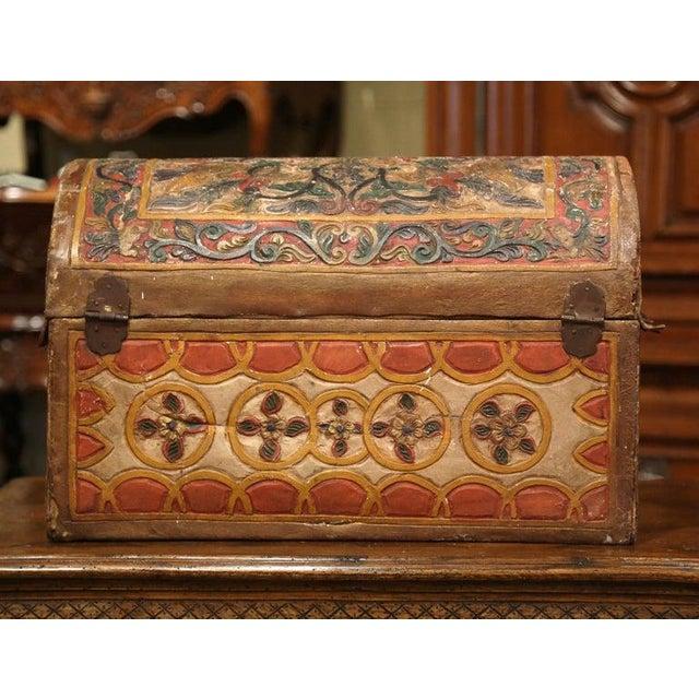 Folk Art 18th Century German Gothic Painted Decorative Bombe Box Wedding Trunk For Sale - Image 3 of 13