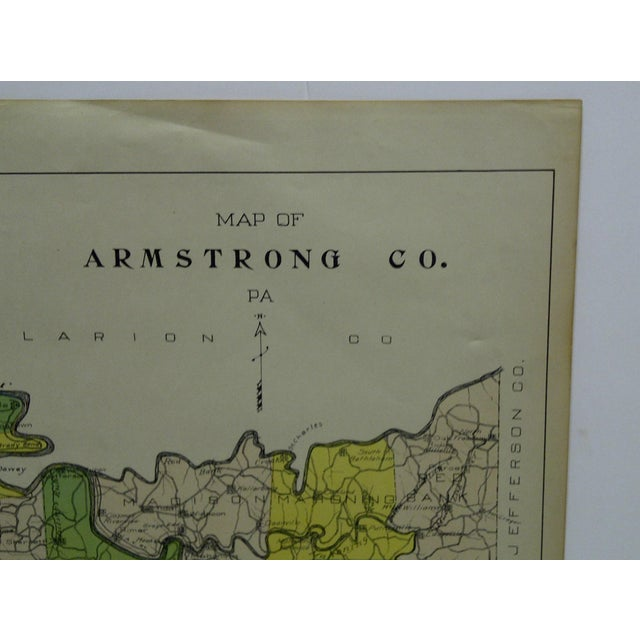 Vintage Rand McNally 1911 Color Map of Armstrong County Pennsylvania For Sale - Image 4 of 7