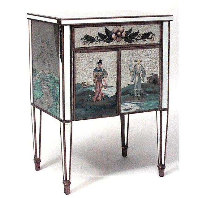 Italian Mirrored Floral Bedside Commodes - a Pair For Sale In New York - Image 6 of 7