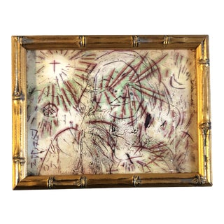 Original Outsider Artist Peter Duncan Abstract Encaustic/Oil/ Painting/Drawing Female Portrait Framed For Sale