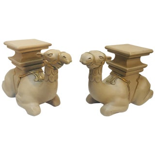 Pair of Camel Sculptures Stools or Side Tables For Sale