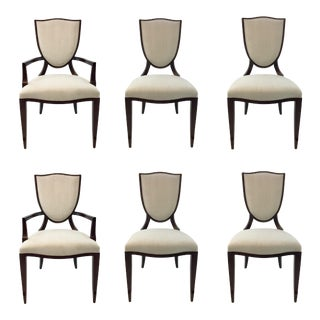 Modern Barbara Barry for Henredon Shield Back Dining Chairs Set of Six For Sale