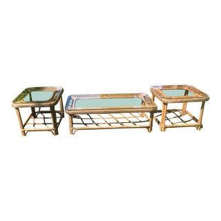 Vintage Lane Rattan Three Piece Matching Coffee Table Set- 3 Pieces For Sale