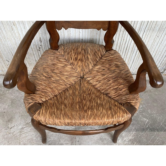 19th Century Set of Six Armchairs With Straw Seat. Dining Room Chairs For Sale - Image 11 of 13