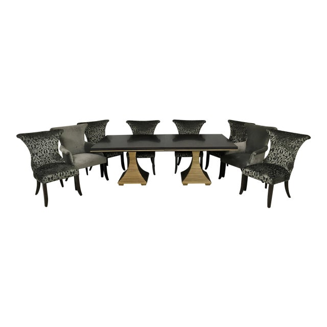 """Bernhardt """"Jet Set"""" Dining Table & 8 Chairs For Sale"""