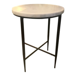 Marble Topped Table With Brown Metal Legs For Sale