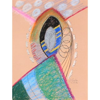 Bright Surreal Path & Archway 1986 Oil Pastel and Graphite For Sale