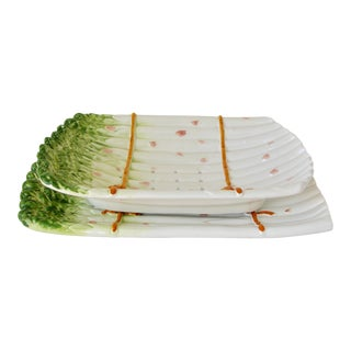 Italian Majolica Asparagus Strainer and Platter