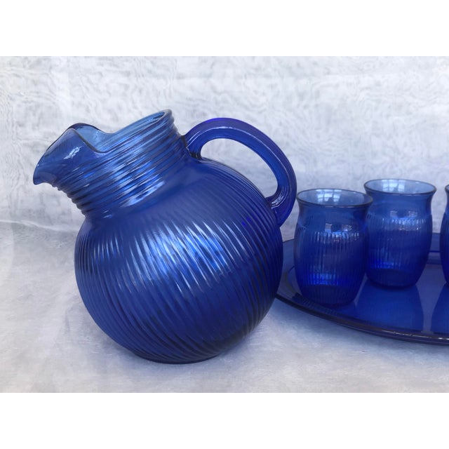 1930s Vintage Cobalt Blue Glass Lemonade Set- 6 Pieces For Sale - Image 5 of 13