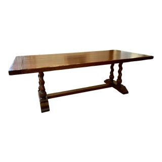 English Country Trestle Dining Table With Barley Twist Legs For Sale