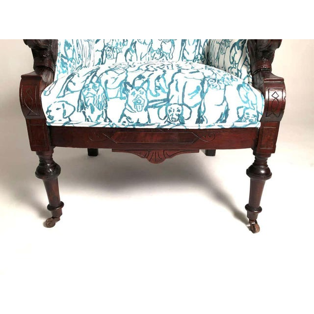 Aesthetic Movement Late 19th Century Victorian Lounge Chair With Carved Dog Head Armrests For Sale - Image 3 of 13