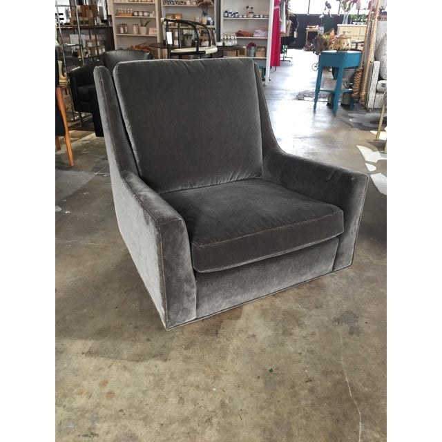 Large, comfortable and super stylish, this fabulous club chair has been professionally reupholstered in Belgian mohair in...