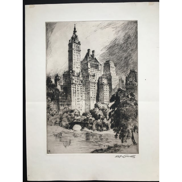 """1940's New York Etching """"Central Park"""" by Nat Lowell For Sale - Image 13 of 13"""