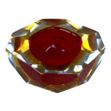 Image of 1970s Contemporary Red Murano Sommerso Faceted Art Glass Bowl For Sale