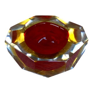 1970s Contemporary Red Murano Sommerso Faceted Art Glass Bowl