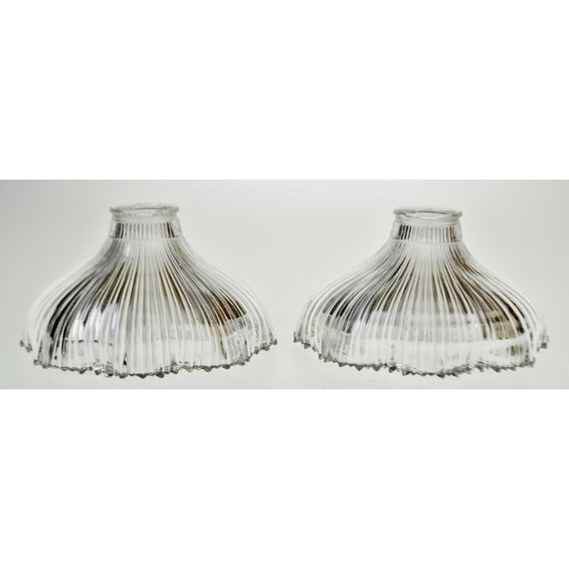 Art Nouveau 1905 Franklin Ribbed Glass Light Shades - A Pair Condition consistent with age and history. No chips or...