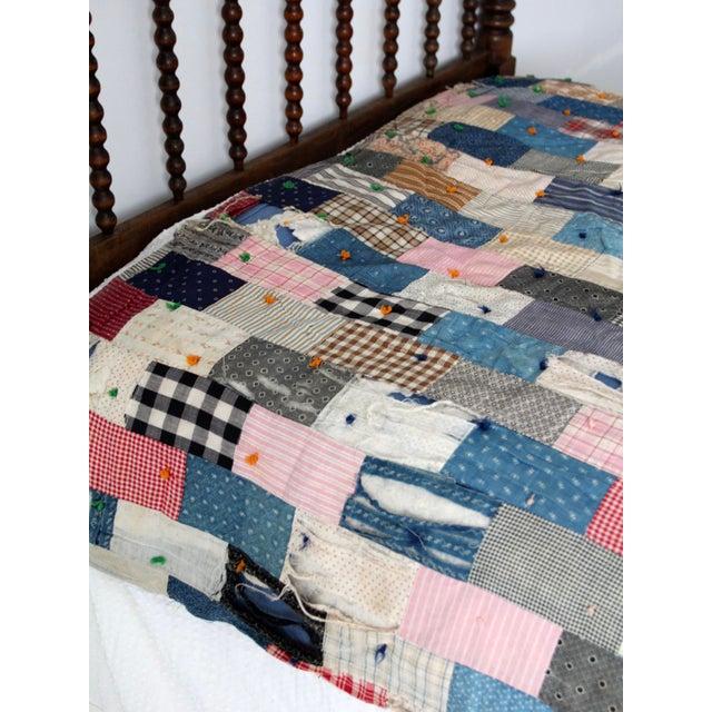Cottage Vintage Hand-Tied Patchwork Quilt For Sale - Image 3 of 10