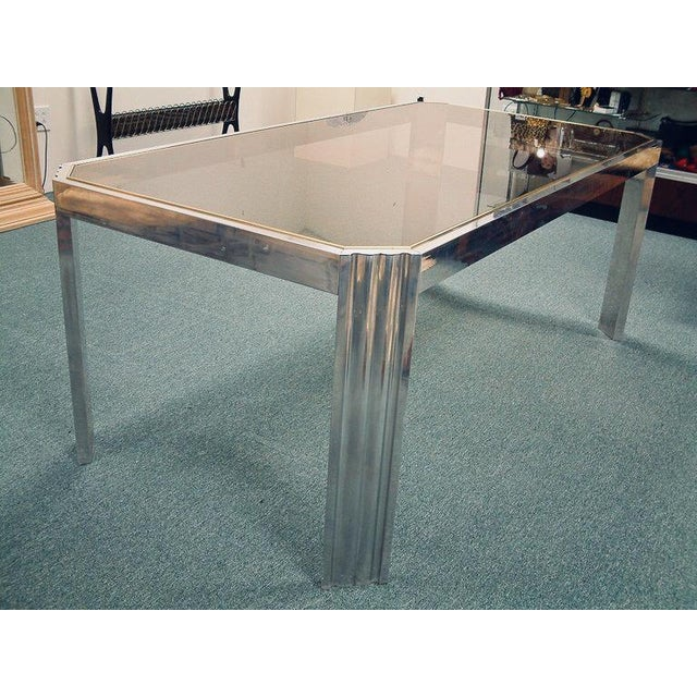 1970 Mid-Century Modern Italian Polished Aluminum and Glass Dining Table For Sale - Image 4 of 7