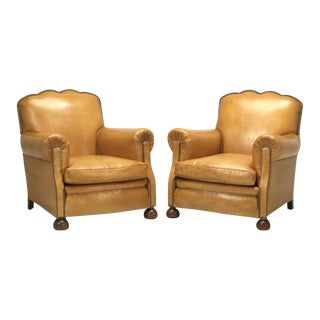 French Leather Club Chairs Completely Restored For Sale