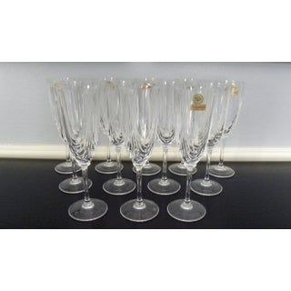 Vintage Mid Century Prima Vera DiCristallo Champagne Flutes Never Used - Set of 12 Preview