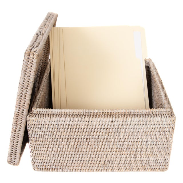 Artifacts Rattan File Box With Lid For Sale - Image 4 of 6