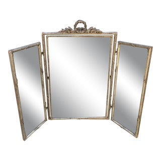 Antique French White Gold Tryptic Tri Fold Table Mirror