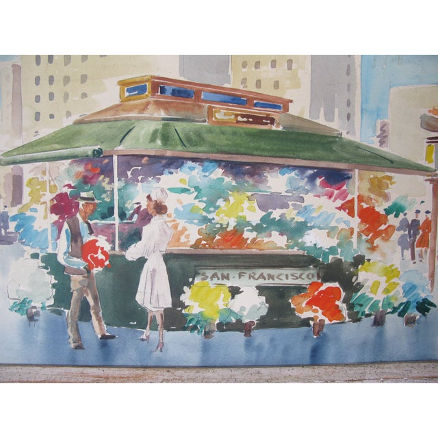 Danny Hall Mid-Century San Francisco Watercolor Painting - Image 3 of 5